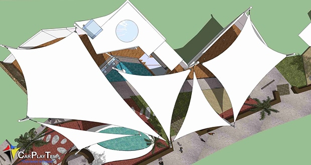 Proyecto de Sombras para Centro Comercial en Costa Teguise. Lanzarote.