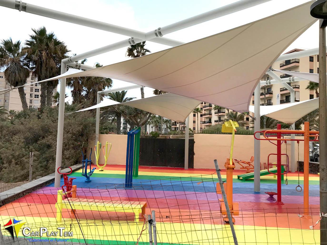 Instalación realizada para el Ayuntamiento de Candelaria, Tenerife - Velas Paraboloides Hiperbolicas