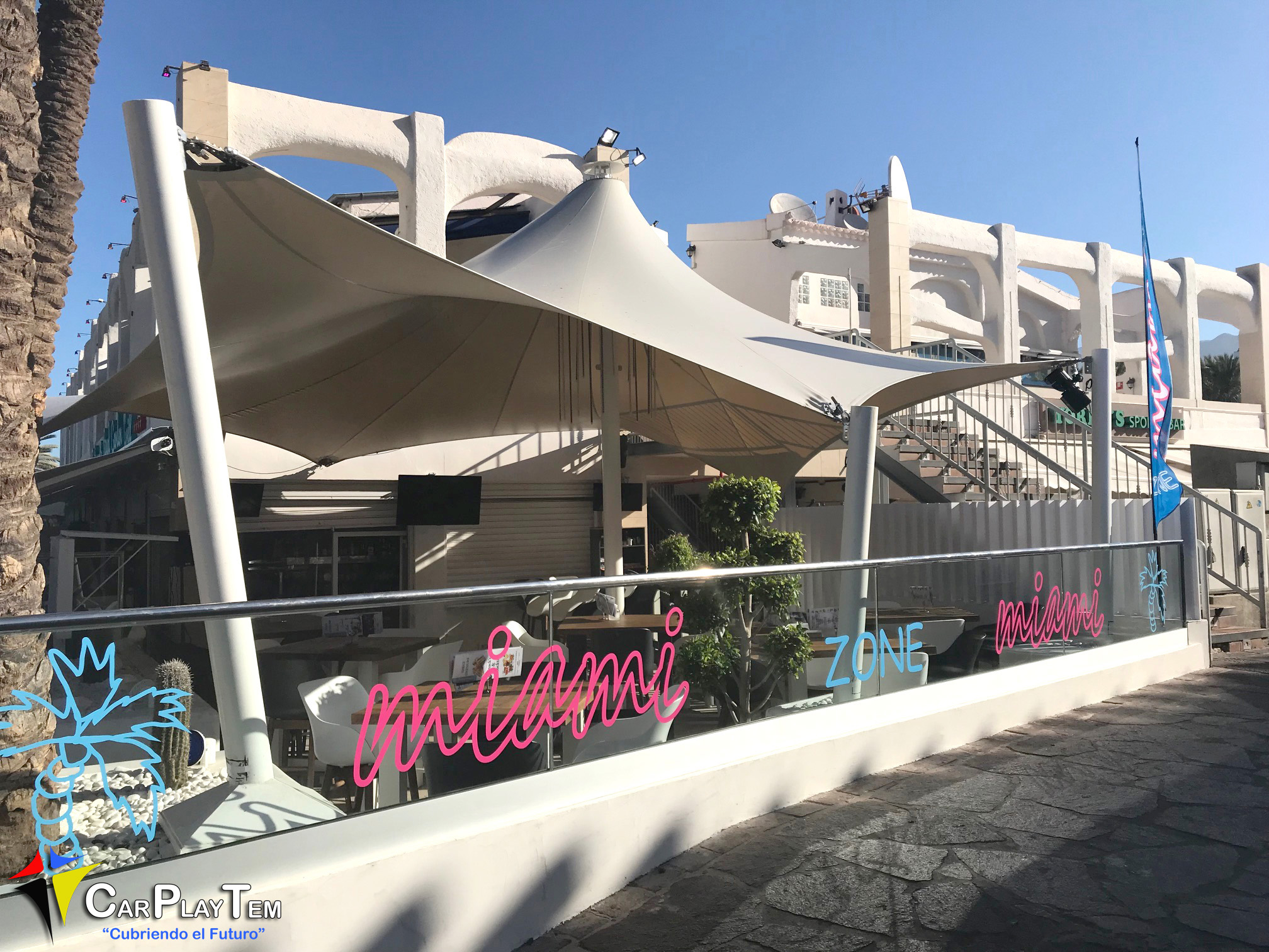 Carpa en Forma de Cúpula. Terraza Miami. Tenerife.
